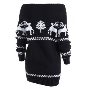 Reindeer Off The Shoulder Knit Tunic Sweater -
