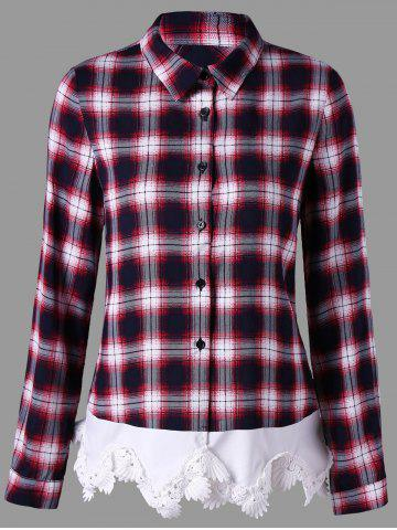 Store Lace Insert Plaid Button Up Shirt