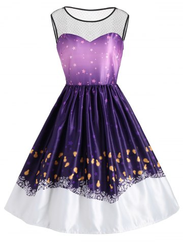 Lace Panel Star Night Print Vintage Dress
