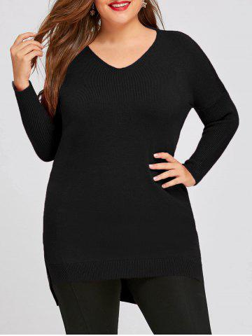 Store Plus Sizer High Low Drop Shoulde Tunic Sweater
