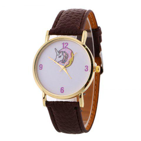 Buy Faux Leather Strap Unicorn Number Watch