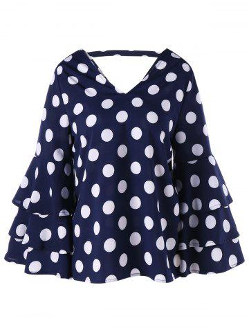Layered Flare Sleeve V Neck Polka Dot Blouse