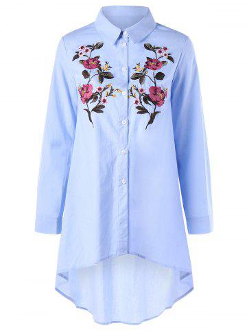 Outfit Flower Embroidery Long Sleeve High Low Shirt