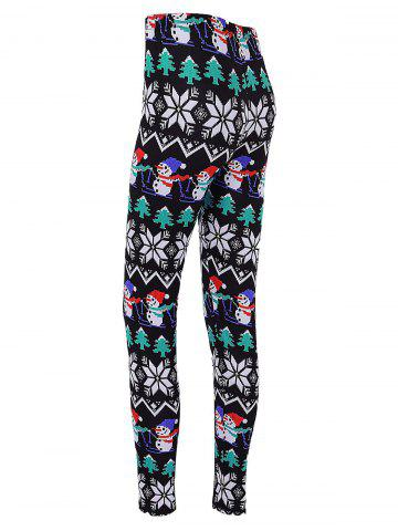 Cheap Snowman Print Skinny Christmas Leggings