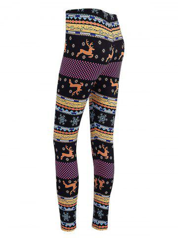 Unique Christmas Elk Snowflake Print Skinny Leggings