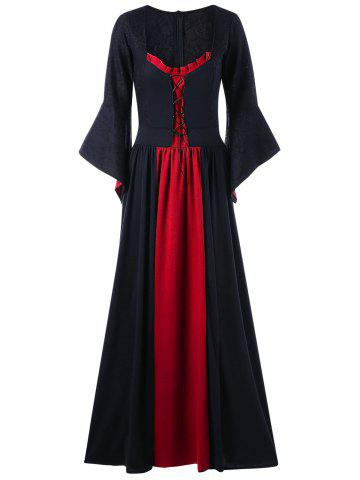 Black Red 4xl Plus Size Flare Sleeve Maxi Gothic Dress