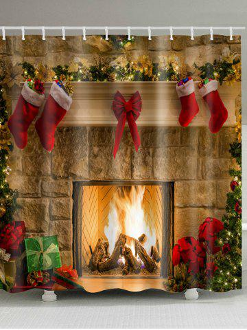 Christmas Fireplace Stockings Print Waterproof Fabric Shower Curtain