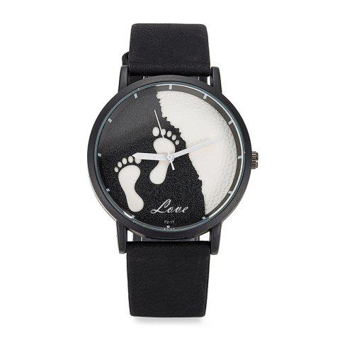 Cheap Faux Leather Strap Footprint Face Watch