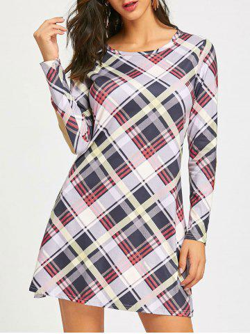 Trendy Check Long Sleeve Shift Dress