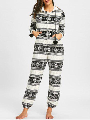 Christmas Monochrome Zip Up Hooded Jumpsuit - WHITE AND BLACK - L