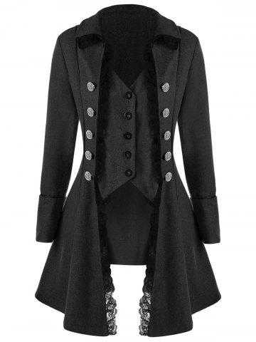 Trendy Button Up Lace Trim Tailcoat
