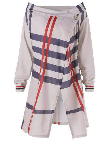 Cheap Plus Size Long Sleeve Slit Stripes Coat