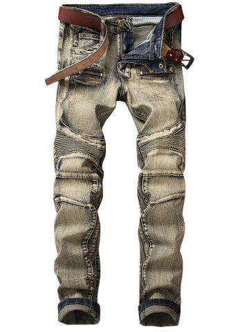 Zip Fly Straight Leg Vintage Jeans motard