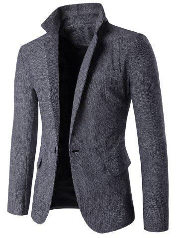 Store Lapel Collar One Button Tweed Herringbone Blazer