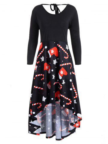 Buy Christmas Print Plus Size High Low Dress