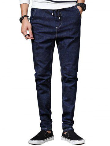 Fashion Drawstring Zip Fly Tapered Fit Jeans
