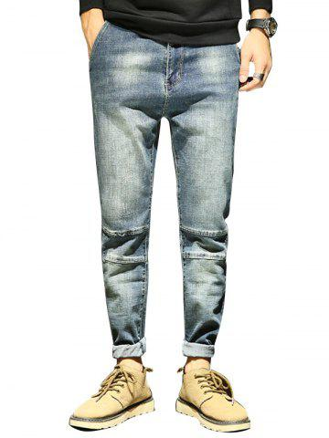 Chic Tapered Fit Zipper Fly Faded Jeans