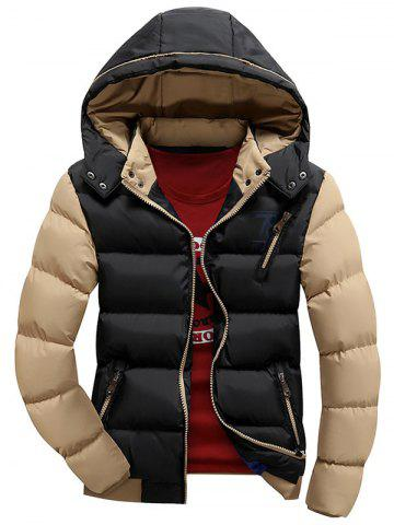 Detachable Hood Two Tone Graphic Padded Jacket
