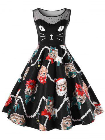 51 christmas plus size kitten pattern swing dress - Cheap Christmas Dresses