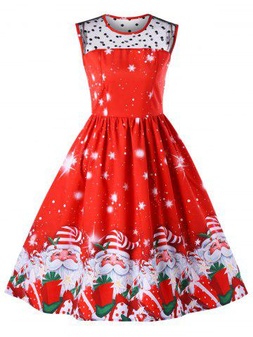 Christmas Mesh Insert Santa Claus Print Dress