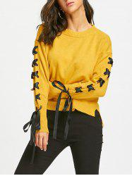 High Low Lace Up Drop Shoulder Sweater -