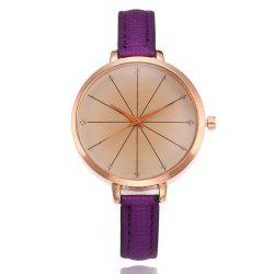 Round Faux Leather Strap Quartz Watch -