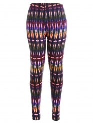 Multicolor Bamboo Print High Waist Workout Leggings -