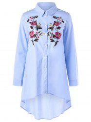 Flower Embroidery Long Sleeve High Low Shirt -