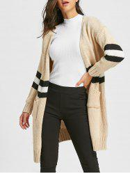 Stripe Side Slit Open Front Cardigan -