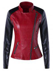 Color Block Zipper Faux Leather Jacket -