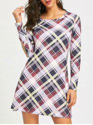 Check Long Sleeve Shift Dress -