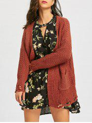 Open Front Ripped Chunky Tunic Cardigan -