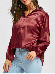 Drop Shoulder Satin High Low Jacket -