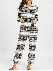 Christmas Monochrome Zip Up Hooded Jumpsuit -