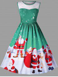 Christmas Plus Size Santa Claus Sleeveless Swing Dress -