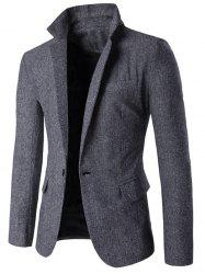 Lapel Collar One Button Tweed Herringbone Blazer -