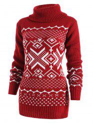 Geometric Pattern Turtleneck Tunic Sweater -