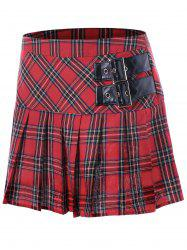 Buckles Pleated A-line Plaid Skirt -