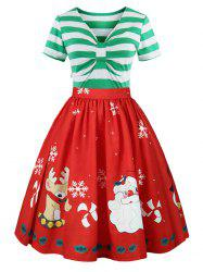 Christmas Plus Size Panel Flared Dress -