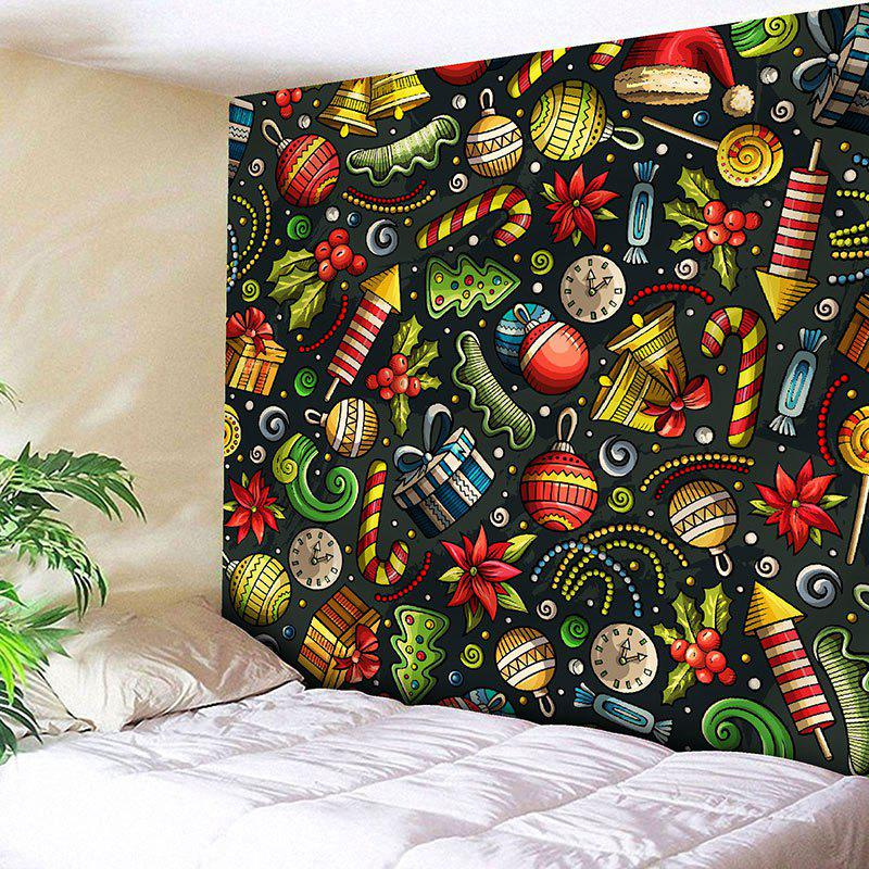 Colormix W91 Inch * L71 Inch Wall Decor Christmas Elements Printed ...