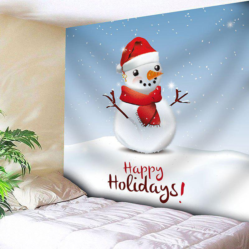 Happy Holiday Christmas Snowman Print Wall Decor TapestryHOME<br><br>Size: W91 INCH * L71 INCH; Color: LIGHT BLUE; Style: Festival; Theme: Christmas; Material: Nylon,Polyester; Feature: Removable,Washable; Shape/Pattern: Letter,Snowman; Weight: 0.3750kg; Package Contents: 1 x Tapestry;