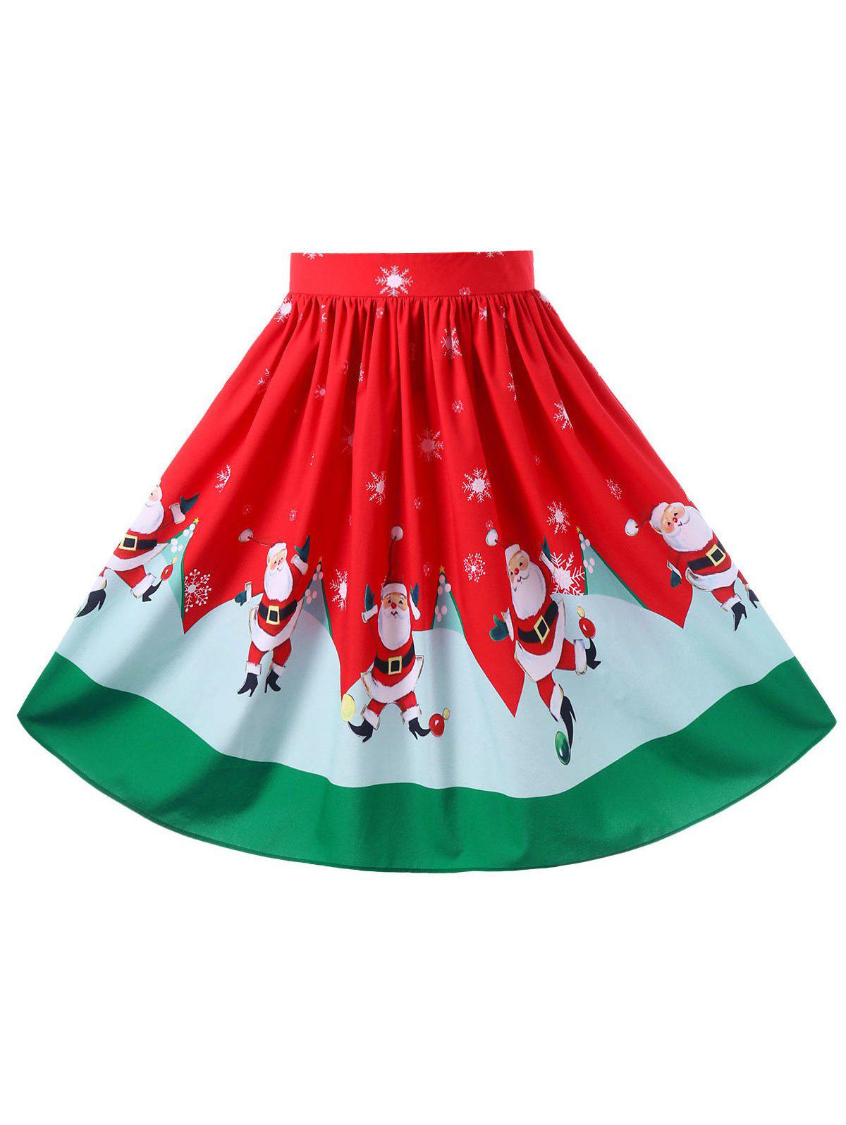 Christmas Plus Size Midi Flowy SkirtWOMEN<br><br>Size: XL; Color: RED; Material: Polyester,Spandex; Length: Mid-Calf; Silhouette: A-Line; Pattern Type: Character; Season: Fall,Spring; Weight: 0.2400kg; Package Contents: 1 x Skirt;