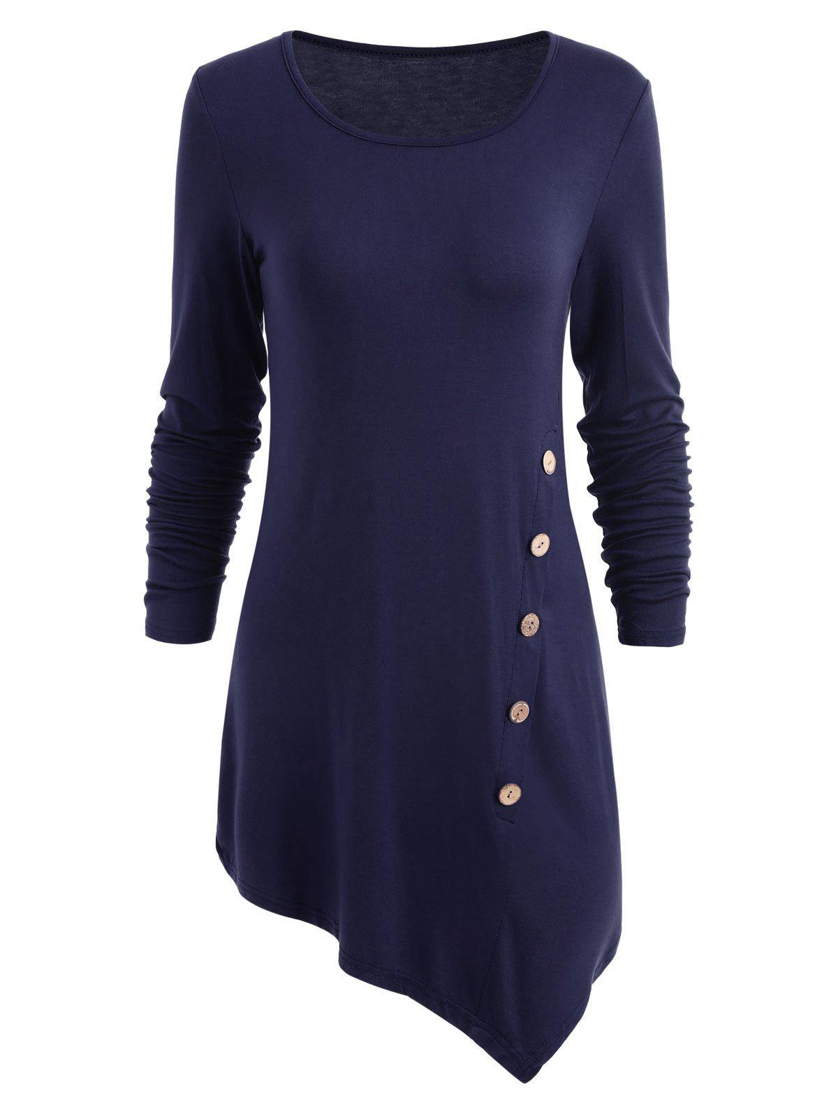 Skew Button Embellished Long Asymmetric BlouseWOMEN<br><br>Size: XL; Color: BLUE; Material: Polyester,Spandex; Shirt Length: Long; Sleeve Length: Full; Collar: Round Neck; Style: Fashion; Embellishment: Button; Pattern Type: Solid; Season: Fall,Spring; Weight: 0.3200kg; Package Contents: 1 x Blouse;