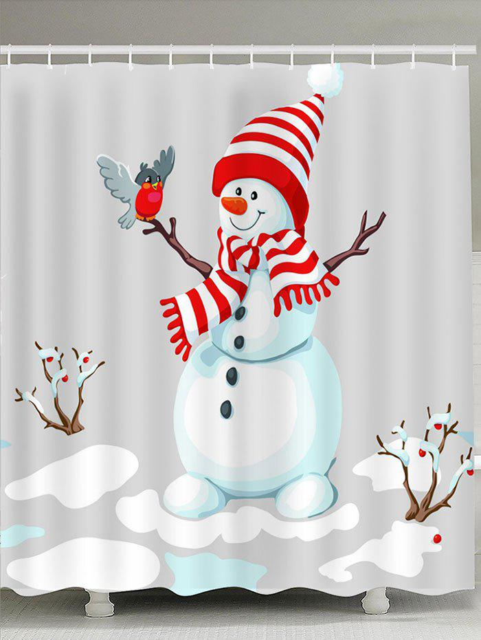 Bath Decor Snowman Patterned Shower CurtainHOME<br><br>Size: W71 INCH * L79 INCH; Color: GREY AND WHITE; Products Type: Shower Curtains; Materials: Polyester; Pattern: Animal,Snow,Snowman; Style: Festival; Number of Hook Holes: W59 inch * L71 inch:10, W71 inch * L71 inch:12, W71 inch * L79 inch:12; Package Contents: 1 x Shower Curtain 1 x Hooks (Set);