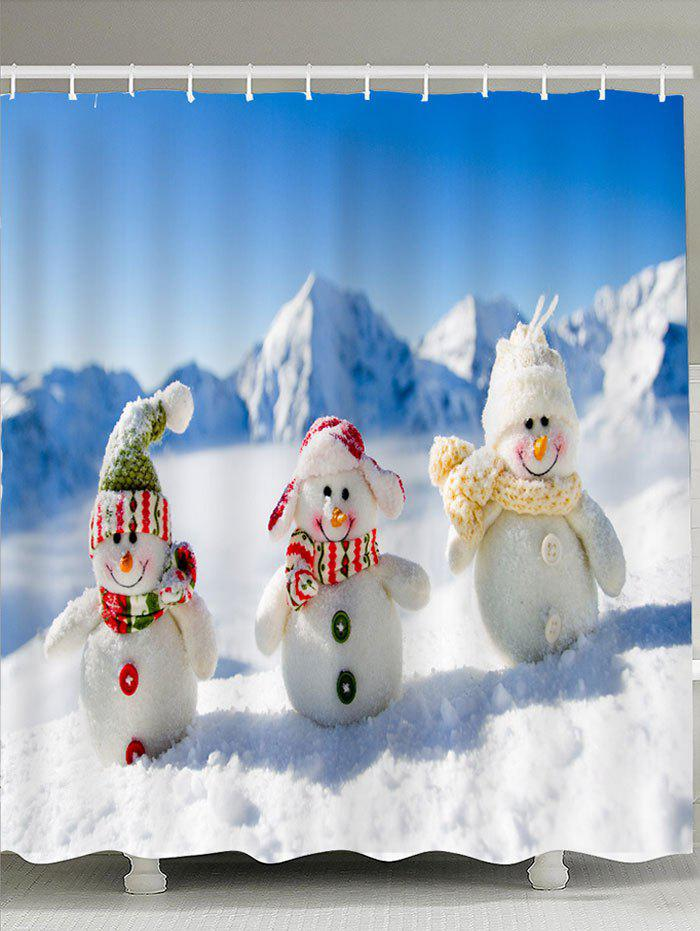 Three Christmas Snowmen Patterned Shower CurtainHOME<br><br>Size: W71 INCH * L79 INCH; Color: BLUE AND WHITE; Products Type: Shower Curtains; Materials: Polyester; Pattern: Snow,Snowman; Style: Festival; Number of Hook Holes: W59 inch * L71 inch:10, W71 inch * L71 inch:12, W71 inch * L79 inch:12; Package Contents: 1 x Shower Curtain 1 x Hooks (Set);