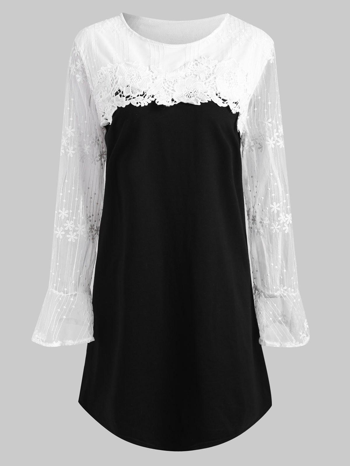 Plus Size Applique Embellished Mesh Panel Cute Tunic DressWOMEN<br><br>Size: 5XL; Color: BLACK; Style: Preppy Style; Material: Cotton Blend,Polyester; Silhouette: A-Line; Dresses Length: Mini; Neckline: Round Collar; Sleeve Length: Long Sleeves; Embellishment: Appliques,Lace; Pattern Type: Patchwork; With Belt: No; Season: Fall,Winter; Weight: 0.3700kg; Package Contents: 1 x Dress;