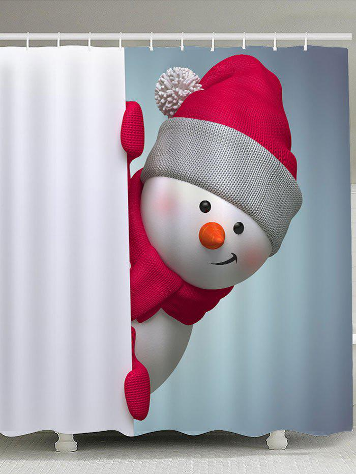 Snowman Patterned Bath Decor Shower CurtainHOME<br><br>Size: W59 INCH * L71 INCH; Color: RED WITH WHITE; Products Type: Shower Curtains; Materials: Polyester; Pattern: Snowman; Style: Festival; Number of Hook Holes: W59 inch * L71 inch:10, W71 inch * L71 inch:12, W71 inch * L79 inch:12; Package Contents: 1 x Shower Curtain 1 x Hooks (Set);