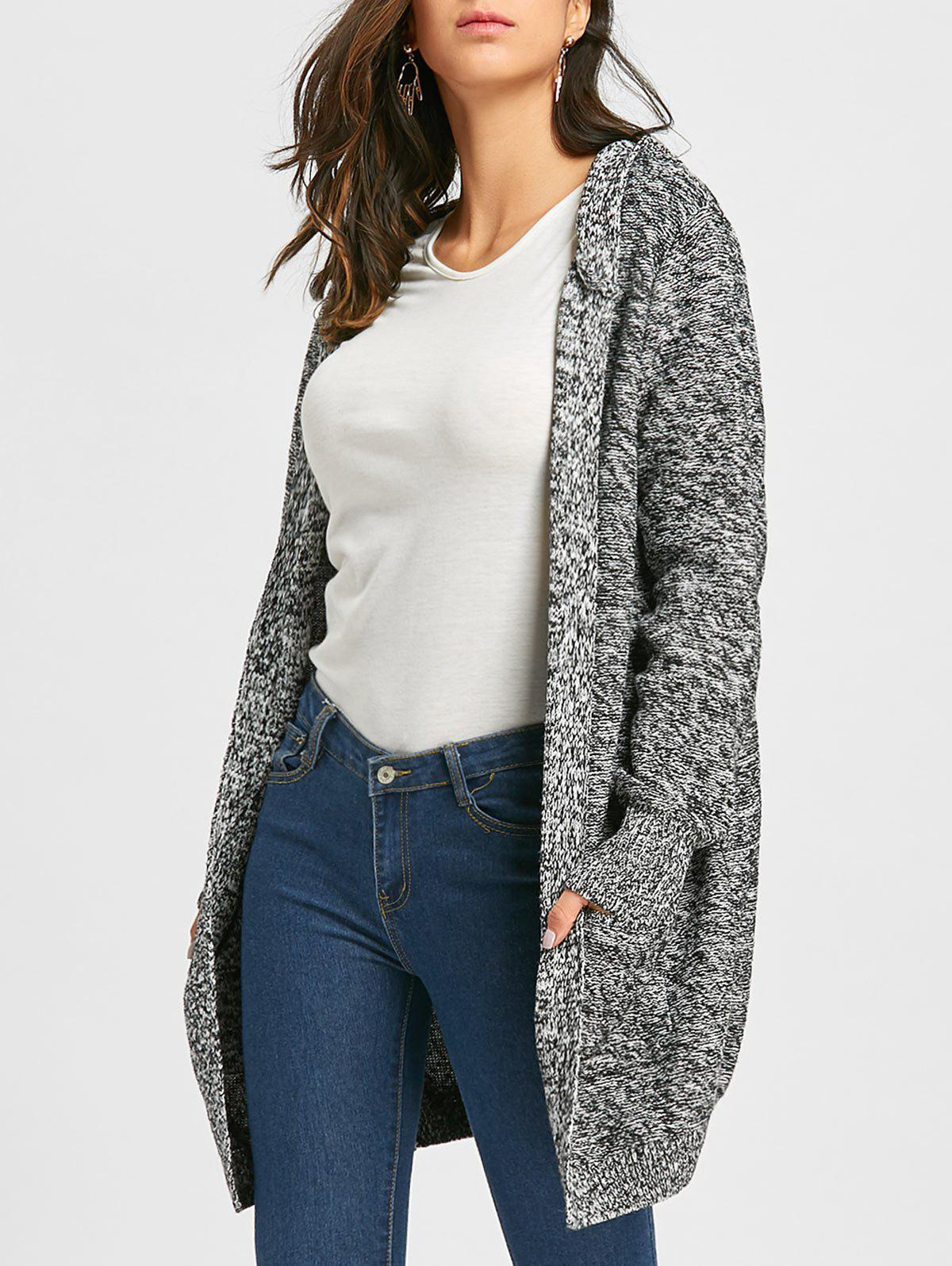Heathered Front Pocket Knit Hooded CardiganWOMEN<br><br>Size: L; Color: BLACK; Type: Cardigans; Material: Polyester; Sleeve Length: Full; Collar: Hooded; Style: Fashion; Pattern Type: Others; Embellishment: Pockets; Season: Fall,Spring; Weight: 0.8500kg; Package Contents: 1 x Cardigan;