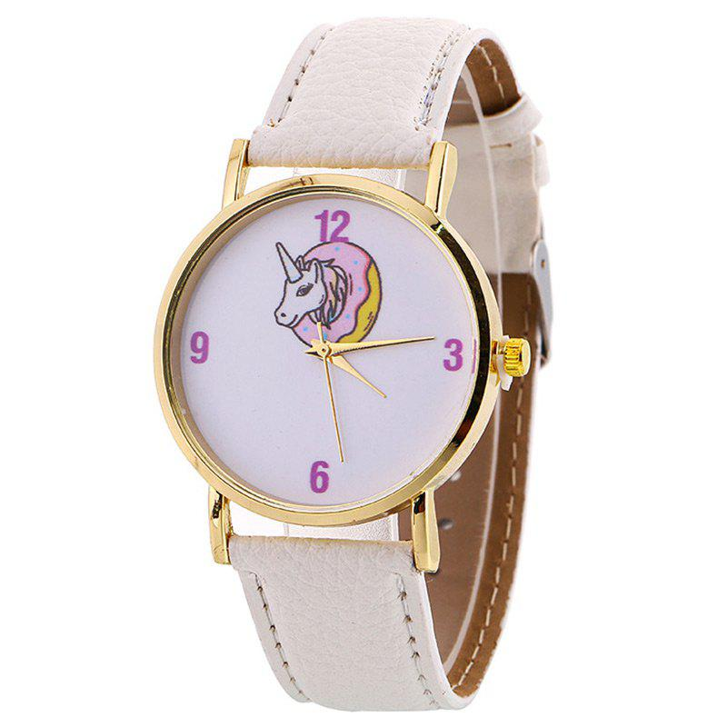 Faux Leather Strap Unicorn Number WatchJEWELRY<br><br>Color: WHITE; Gender: For Women; Style: Fashion; Type: Quartz watch; Index Dial: Analog; Case material: Alloy; Band material: PU Leather; Movement: Quartz; Dial Shape: Round; Water-Proof: No; Case Thickness(MM): 8mm; Dial Diameter: 3.8cm; Band Length(CM): 24cm; Band Width(CM): 1cm; Package Contents: 1 x Watch;