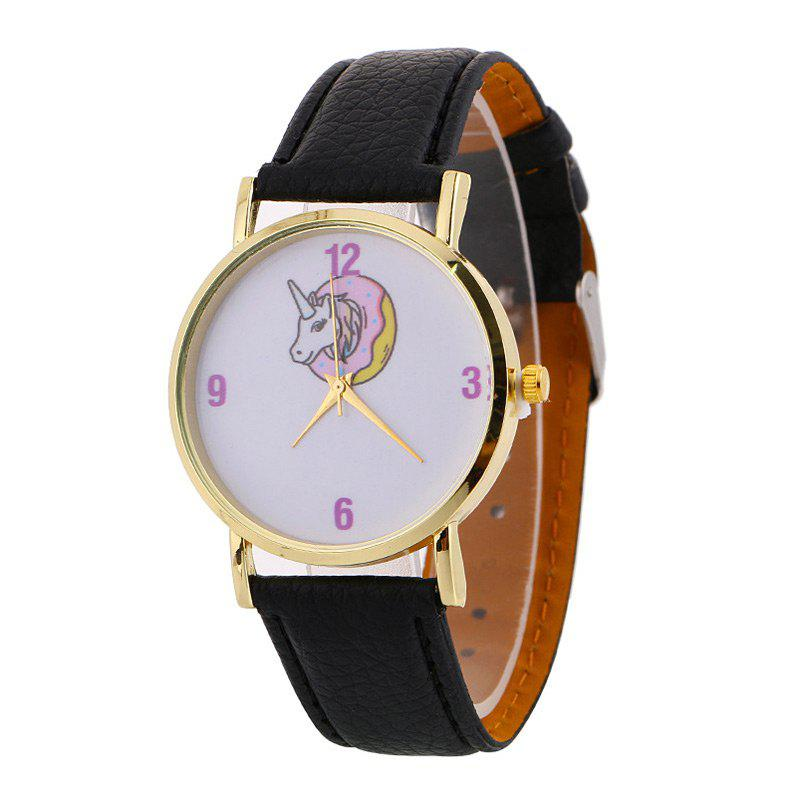 Sale Faux Leather Strap Unicorn Number Watch